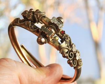 Victorian Gold Filled Clamper Bracelet with Garnets