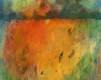 """Small Landscape Oil Painting. 5"""" x 7"""". Harvest Landscape. Original Framed Art."""