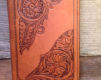 "Mini Portfolio for 5X8"" Pad Hand Carved Leather"
