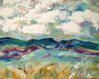 Clouds, Landscape, Mountains, Terrain of Summer in Santa Fe - acrylic painting