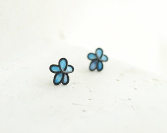 Pale Blue Forget Me Not Stud Post Aqua Blue Earrings, 1st Anniversary Gift Paper Jewelry, Wedding Oxidized Sterling Silver Best Friend Gift