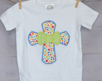 Personalized Easter Cross with Bow Tie Applique Shirt or Bodysuit Girl or Boy