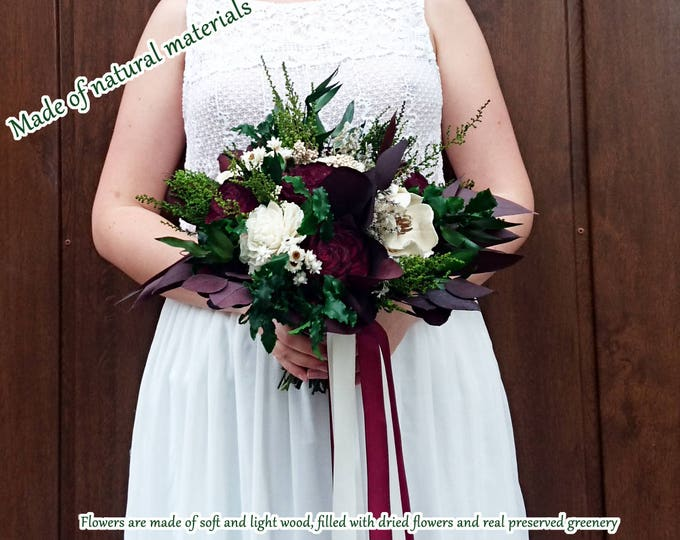 Medium bridal or bridesmaid's bouquet in burgundy and ivory with preserved greenery