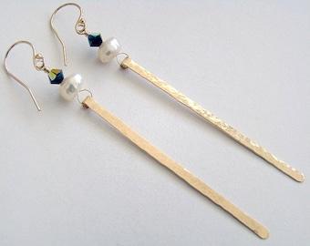 Liquid Gold Earrings, White Pearl Gold Drop Earrings, Long Hammered Gold Earrings, Art Deco Earrings, Black and White Earrings