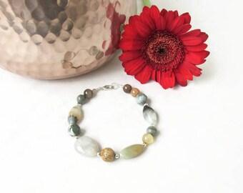Semi precious gemstone bracelet, mixed grey brown gemstones, beaded bracelet, gift for her, Handmade in the UK