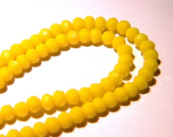 "45 glass beads faceted - 4 x 3 mm - way ""jade"" pumpkin - yellow - PG119"