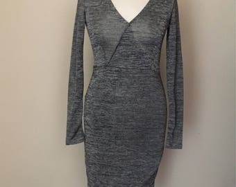 vintage grey fleckled fitted wrap dress with asymmetrical hem WOMENS 10-12