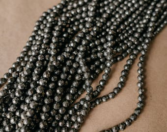Faceted Pyrite Hematite 8mm bead, DIY Gemstone Jewelry