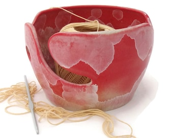 Red Knitting Bowl Crystalline Glazed, Wool Storage, Crochet Supplies, Yarn Bowl, Crochet Bowl, for Knitting and Crochet Enthusiasts