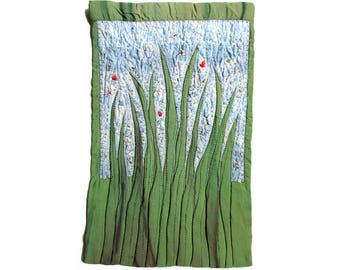 Green grass fiber art for home walls