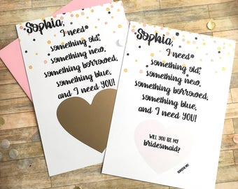 Bridesmaid Proposal Scratch Off Card - Personalized Will You Be My Bridesmaid Scratch Off - Unique Proposal Card Bridesmaid SOMETHING OLD