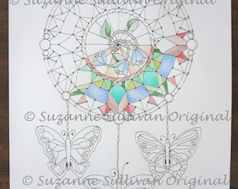 Dream Catcher with Butterflies, Adult Coloring Page, Printable Download, Art Therapy, Stress Relief Coloring,  Coloring Book Page, #230