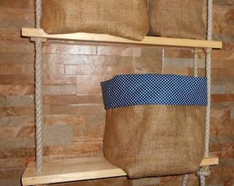 Big Blue white dotted, Lined Burlap storage bag,Rustic, storage basket