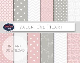 Valentine digital paper VALENTINE HEART paper pack, Hearts, quatrefoil, Love digital paper, Romantic digital paper, Polka dot paper Pink