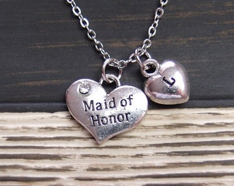 Maid of Honor necklace, sterling silver filled, initial necklace, silver heart charm, Maid of Honor jewelry, bridesmaid gift, wedding gift