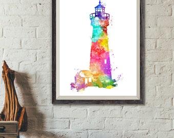 Lighthouse Watercolor Print, Nautical Print, Lighthouse Painting, Beach House, Bathroom Decor, Nursery Decor, Nursery Nautical (No A0325)
