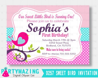 Little bird invite Etsy