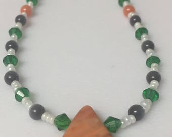 Orange and Gray Cats eye Necklace