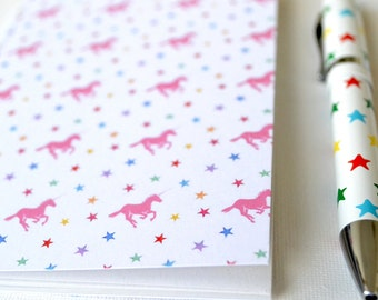 Galloping Unicorns. A6 Recycled Paper Notebook.Stars and Unicorns notebook A6 Unicorn Notebook
