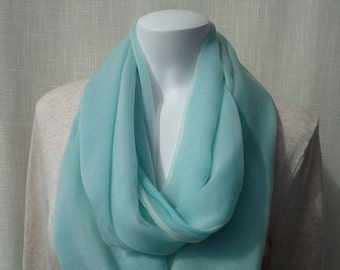 Light Blue and White Infinity Scarf