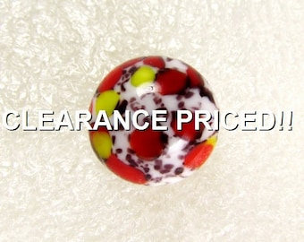 "CLEARANCE! Abstract Ball: 9/16"" (14mm) Millefiori-Style Vintage Glass Button"