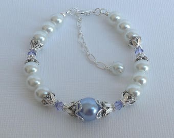 White and Lavender Pearl Bridesmaid Bracelet