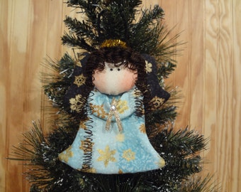 Snowflake themed  fabric Angel Ornament