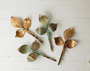 Leaf Bobby Pins, Leaf Branch Hair Pins, Green Leaf Hair Clips, Gold Bobby Pins, Woodland Wedding, Fairy Faerie, Garden Wedding, Bridal Hair