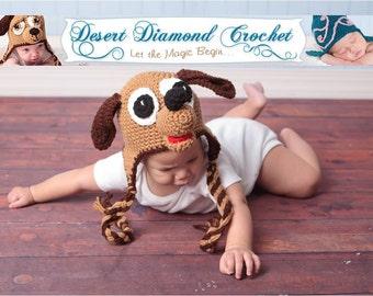 Crochet Pattern 007 - Puppy Earflap Beanie Hat - All Sizes