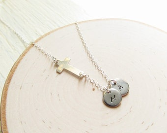 Sideways Cross Sterling Silver with 1-15 Initials, Cross Necklace Women, Family Initial Necklace, Grandma Necklace, Gift for Mom or Grandma