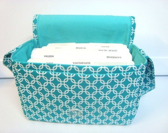 "Large 4"" Size Coupon Organizer / Coupon Bag /Budget Holder Box Attaches to Your Shopping Cart  - Chain Link In Turquoise"