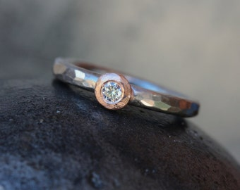 Hammered Palladium Rose Gold Diamond Engagement Ring Medieval Inspired Design Rustic Gray Pink Rose Brilliant White Sparkle - Rosy Button