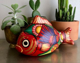 vintage painted fish bank terra cotta Mexican art red colorful boho