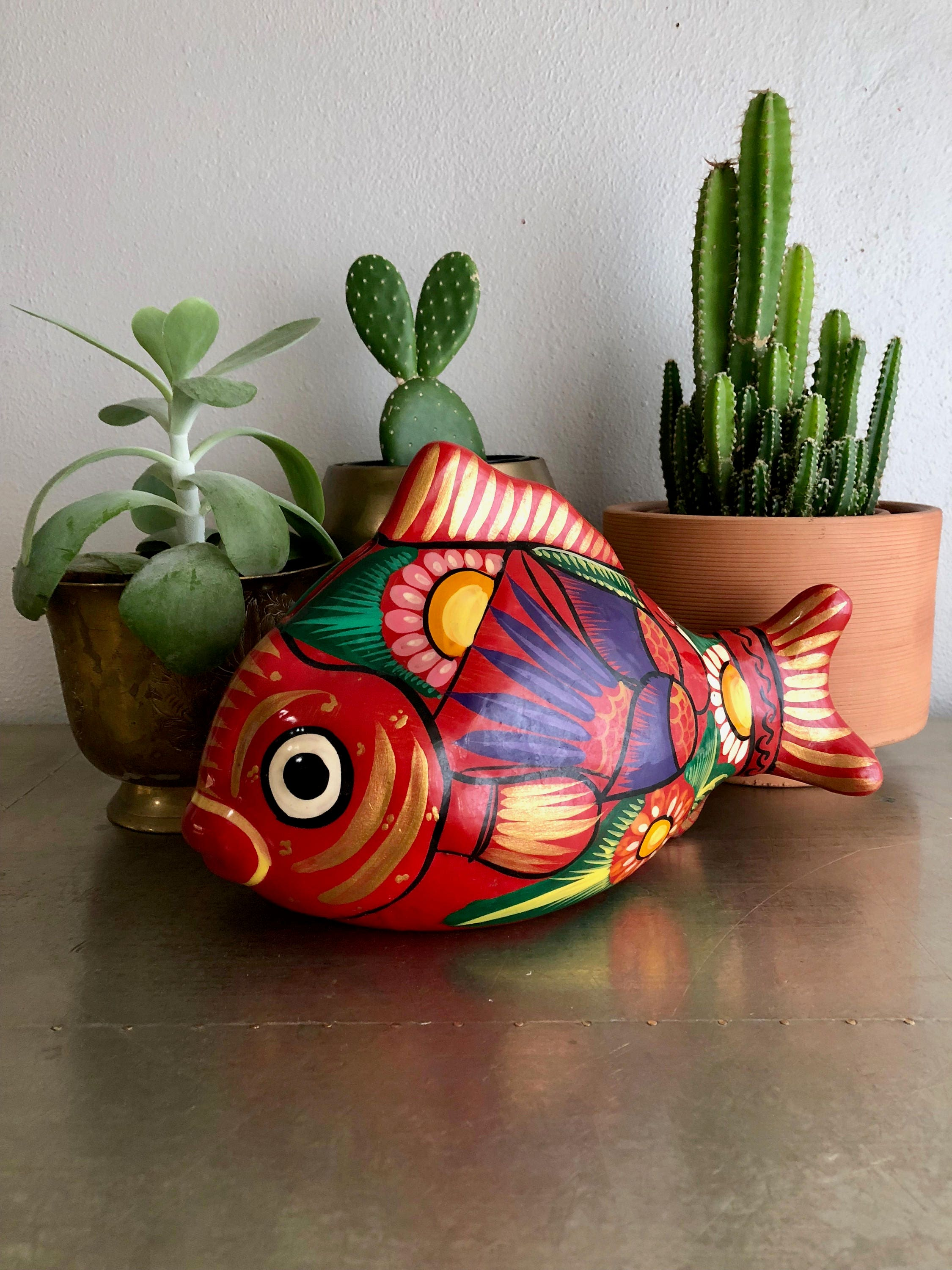 vintage painted fish bank terra cotta Mexican art red colorful
