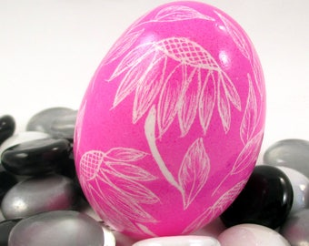 Pysanky, Pisanki, Ukrainian Egg, Polish Easter Egg, Skrobanki, Easter Egg, Ukrainian Easter Egg, Scratched Egg, Pysanky Egg, Pink Echinacea