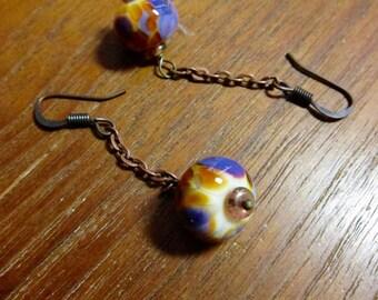 Golden Lavender Lampwork Chain Earrings