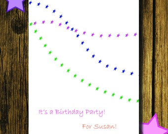 Stars Birthday Party Invitation CUSTOMIZED FOR your EVENT