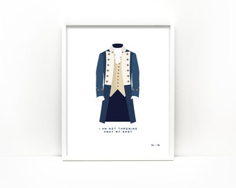 Hamilton inspired American Revolution soldier colonial dress illustration 8x10 linen art print not throwing away my shot lyric