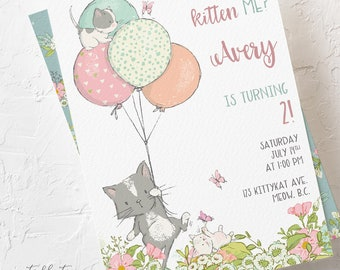 Birthday Invitations - Are You Kitten Me (Style 13810)