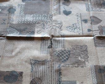 Coated fabric 50 x 70 cm hearts