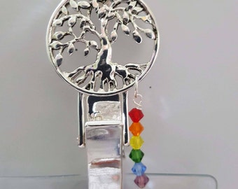 ID Badge Holder SilverTree of Life Chakra Crystal  Badge Holder Lanyard 30-32""