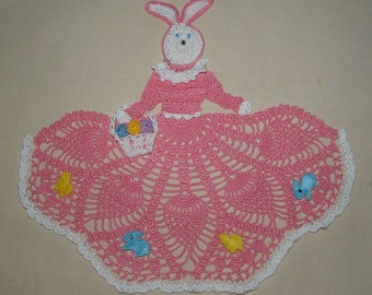 Easter Bunny Girl Doily Crochet Pattern