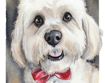CUSTOM dog pet portrait gifts - beautiful original watercolour and gouache painting by York animal artist Jess Chappell