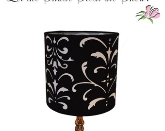 Damask lamp shade etsy black white lampshade flourish damask cut out design 8 fabric drum shade uno fitting home office decor made in usa gift idea aloadofball Image collections