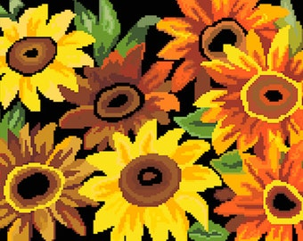 Flowers Cross Stitch Pattern PDF Chart Instant Download Modern Colorful Cross Stitch Pattern in Bright Colors
