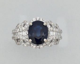 Natural Sapphire with Natural Diamond Ring Solid 18kt White Gold