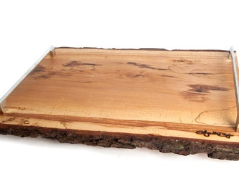 Live edge Reclaimed wood Handmade Alder breakfast tray with silver handles