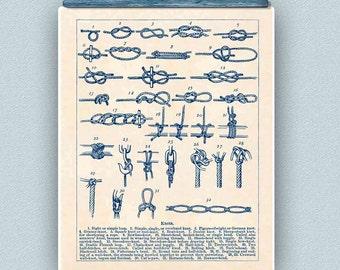 Sailor Knots Print, Nautical knots, Marine Knots Poster, Decorative arts, Sailing club, Sail center, Seaside Wall Decor, Nautical art, 11x14