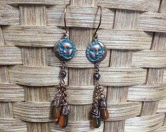 Sun and Moon Earrings Sun Earrings Sun Jewelry Moon Earrings Moon Jewelry Celestial Jewelry Copper Earrings Copper Jewelry