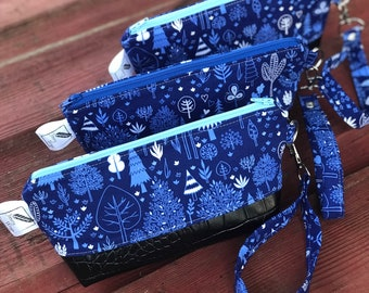 The Brooke Clutch Wristlet ~ Happy Trees in Blue and White